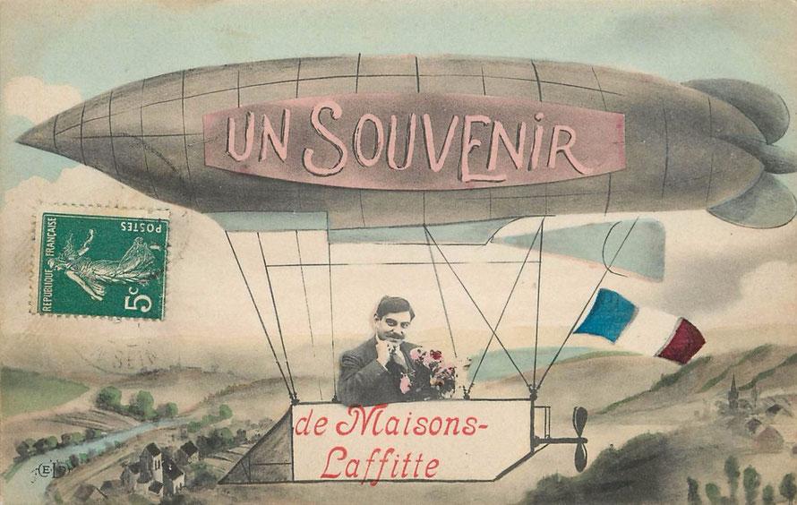 Carte postale souvenir de Maisons-Laffitte avc un ballon dirigeable