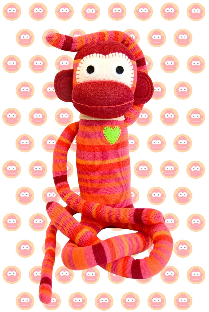 HickUps Sockenaffe Orange Rot