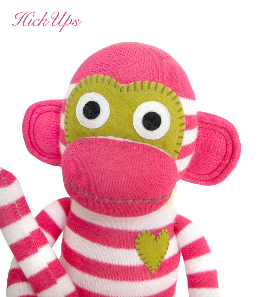HickUps Sockenaffe Pink Weiß