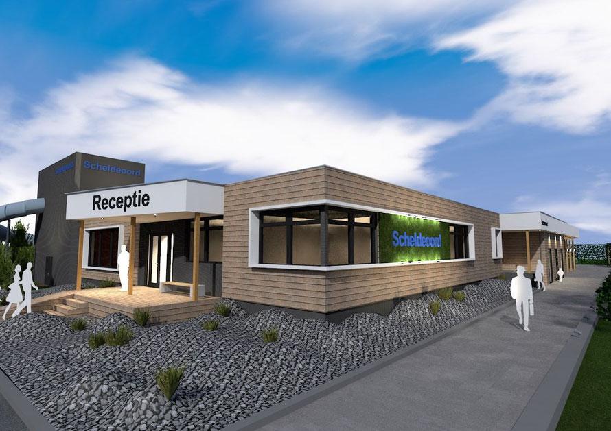 3D render receptie en kantoorruimte camping Scheldeoord