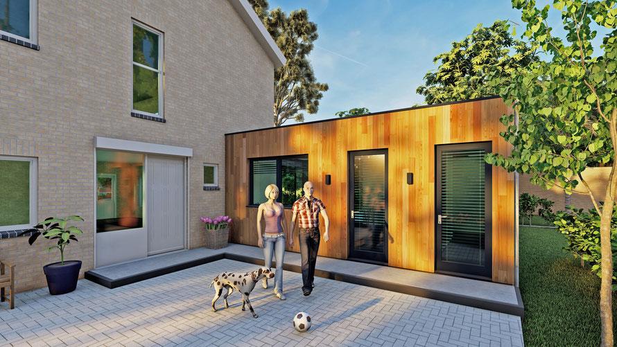 Aanbouw met hardhout en aluminium deuren | Vlissingen, Zeeland