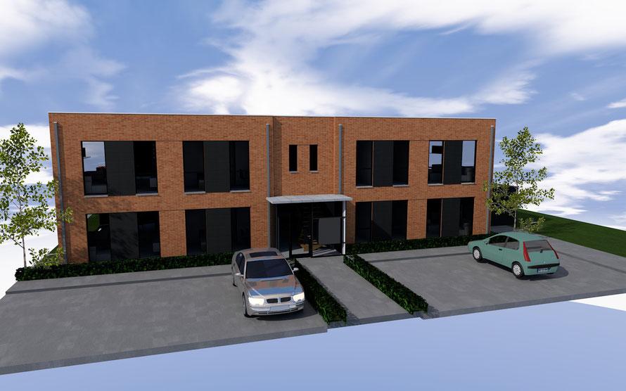 3D ontwerp kleinschalig appartementencomplex Goes