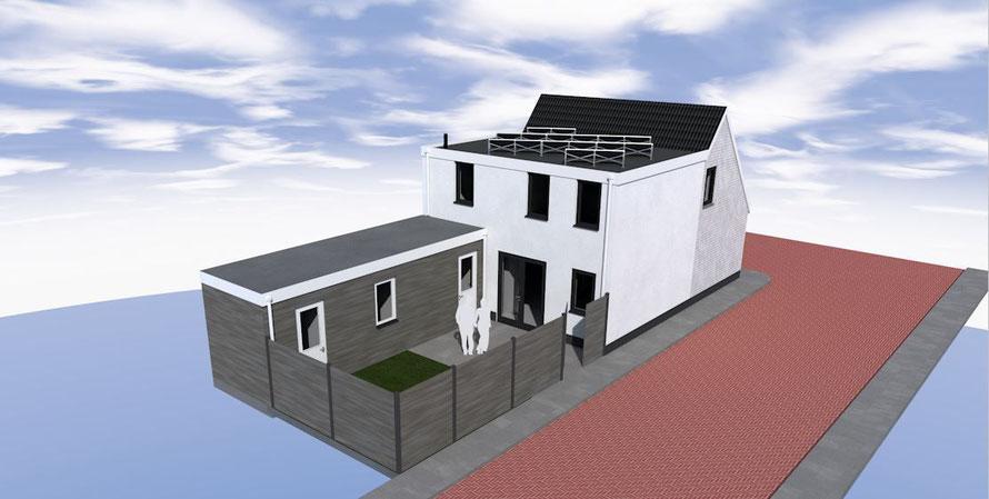 3D ontwerp aan- en opbouw houtskeletbouw Kats