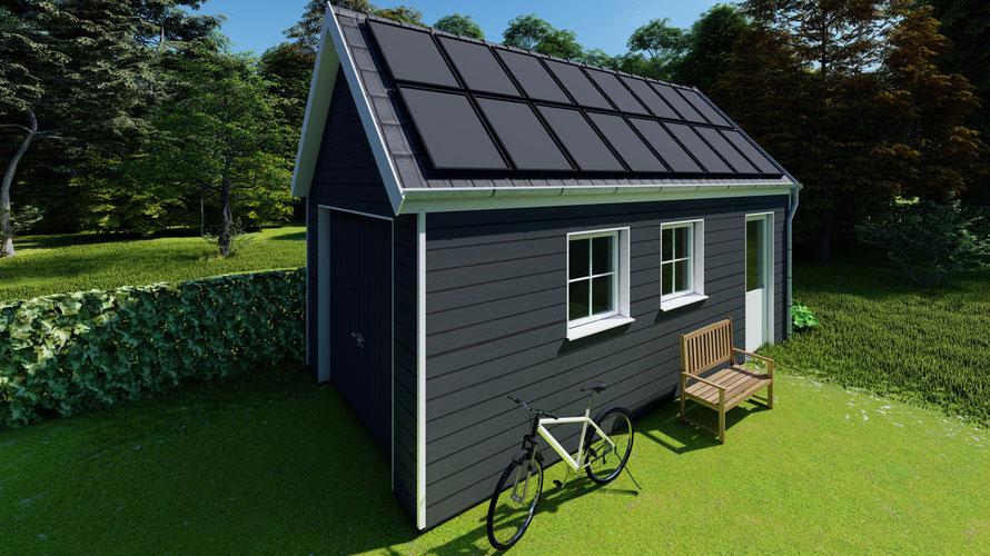 3D ontwerp garage met potdekseldelen en zonnepanelen