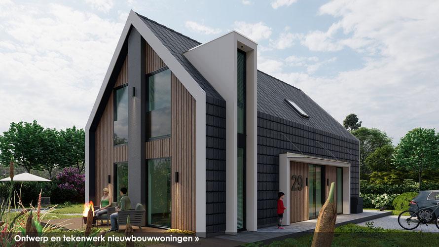 3D ontwerp voorzijde bungalow te Baarland