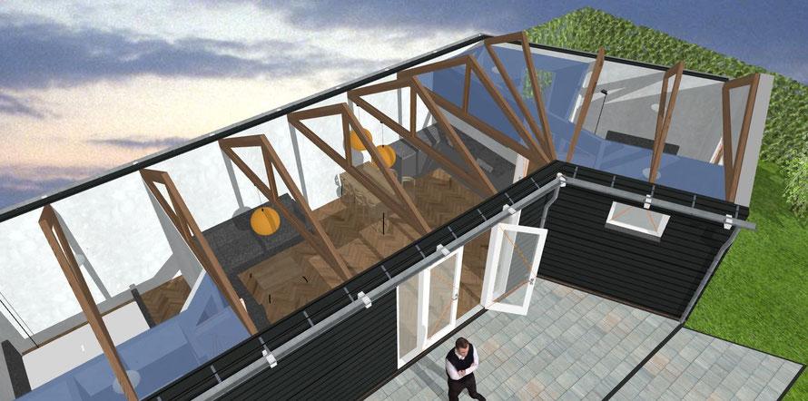 Zijaanzicht 3D ontwerp chalet camping Stelleplas zonder dak