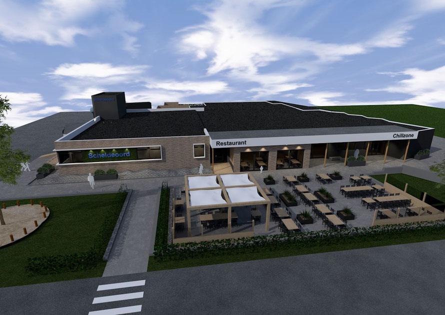 3D render nieuwe hoofdgebouw camping Scheldeoord