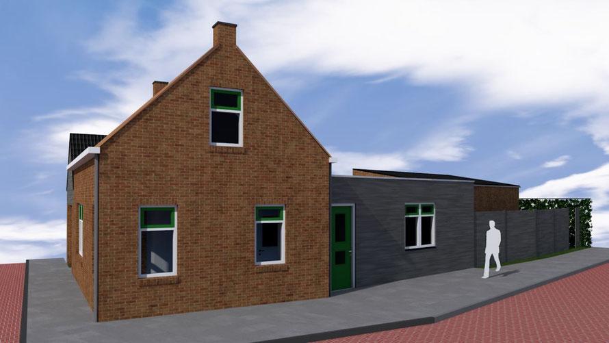 3D ontwerp houtskeletbouw aanbouw Oosterland