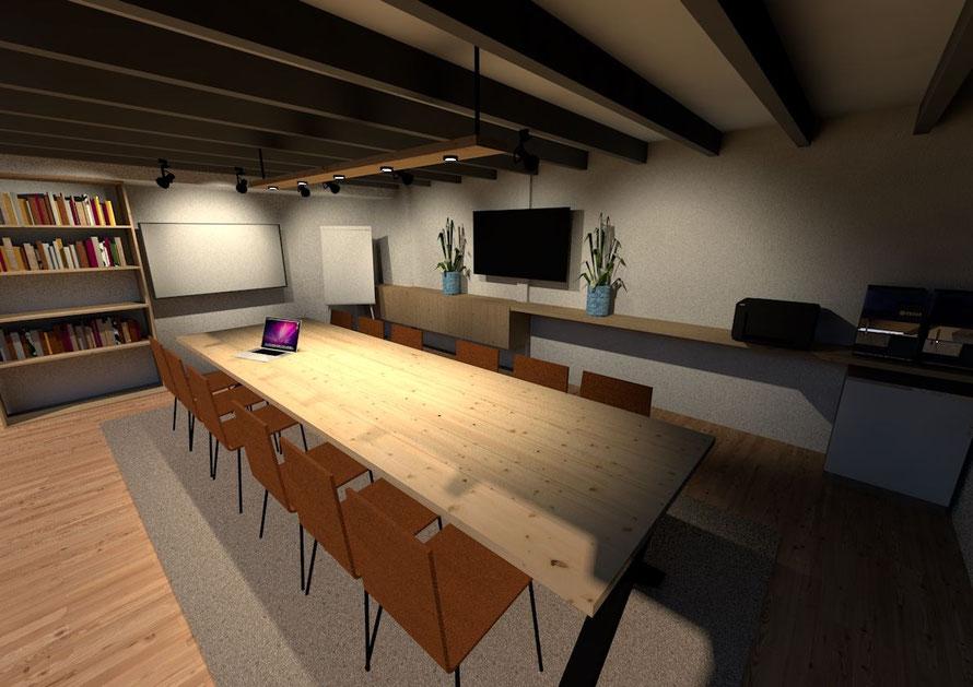3D ontwerp verbouwde bedrijfsruimte Wilhelminadorp