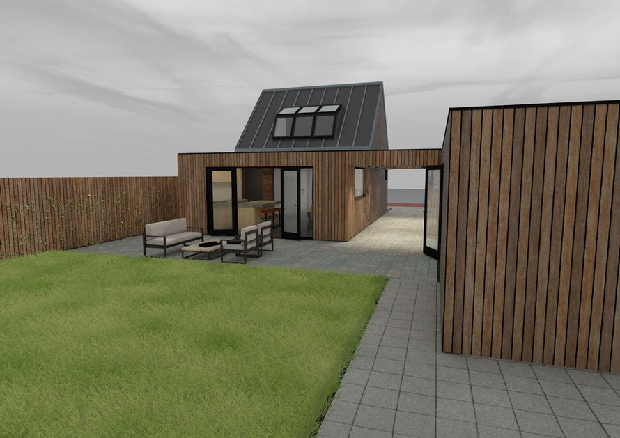 3D ontwerp vrijstaande woning Colijnsplaat achteraanzicht