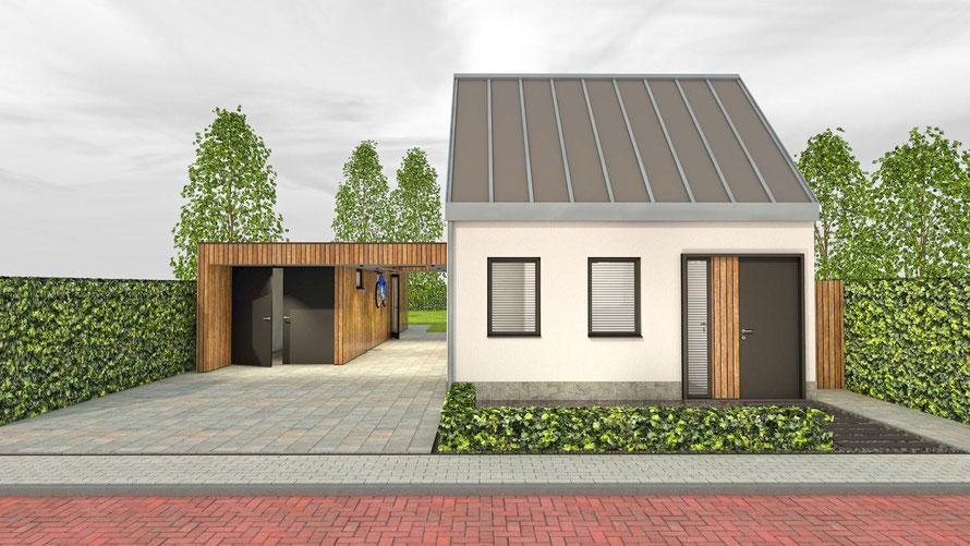 3D ontwerp vrijstaande woning Colijnsplaat vooraanzicht