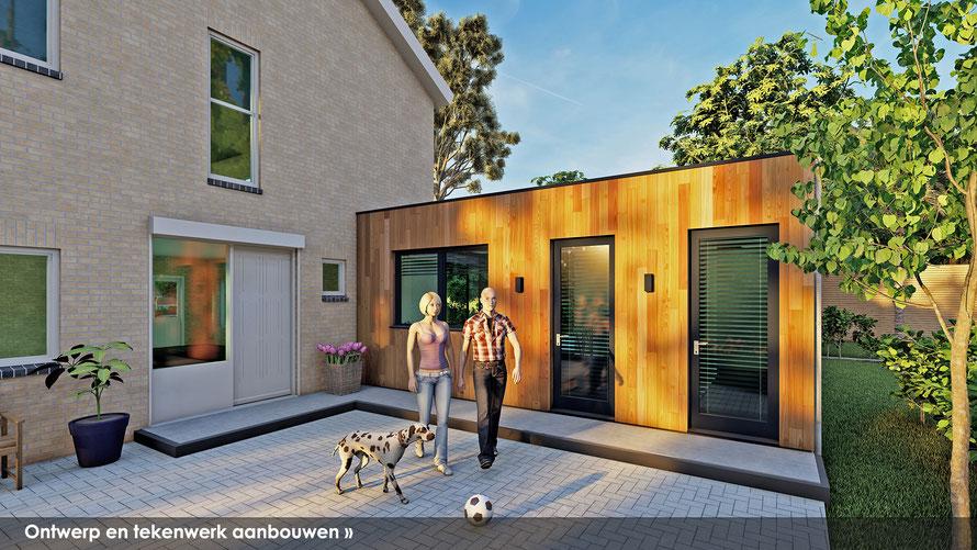 3D ontwerp achterzijde bungalow te Baarland