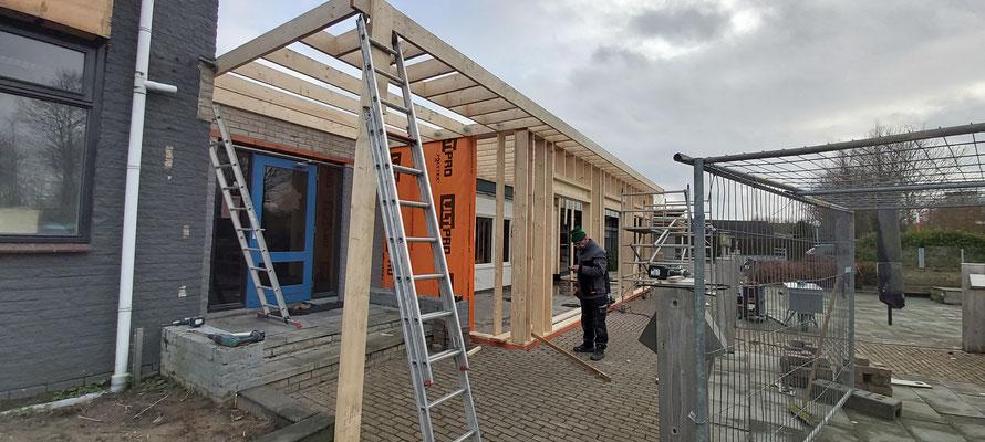 Opzet houtskeletbouw restaurant camping Scheldeoord