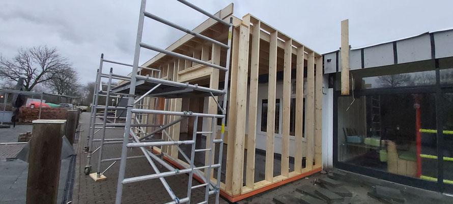 Houtskeletbouw aanbouw restaurant camping Scheldeoord Baarland