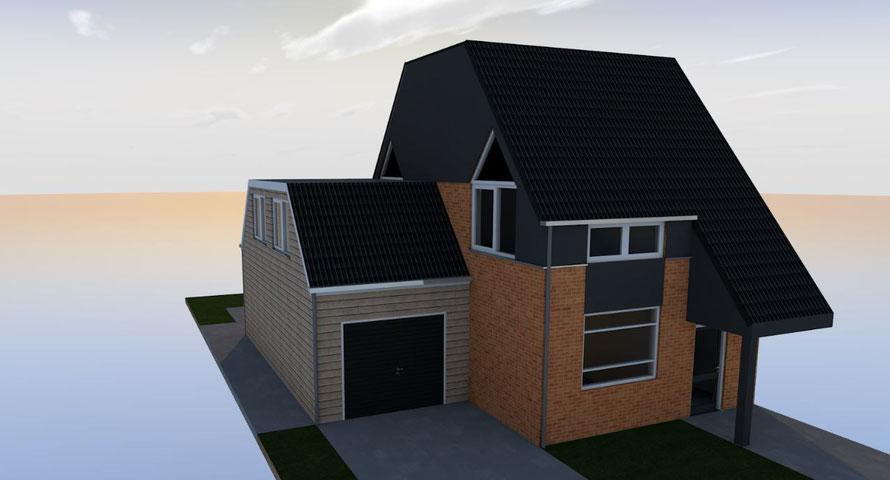 3D ontwerp opbouw garage Oostkapelle