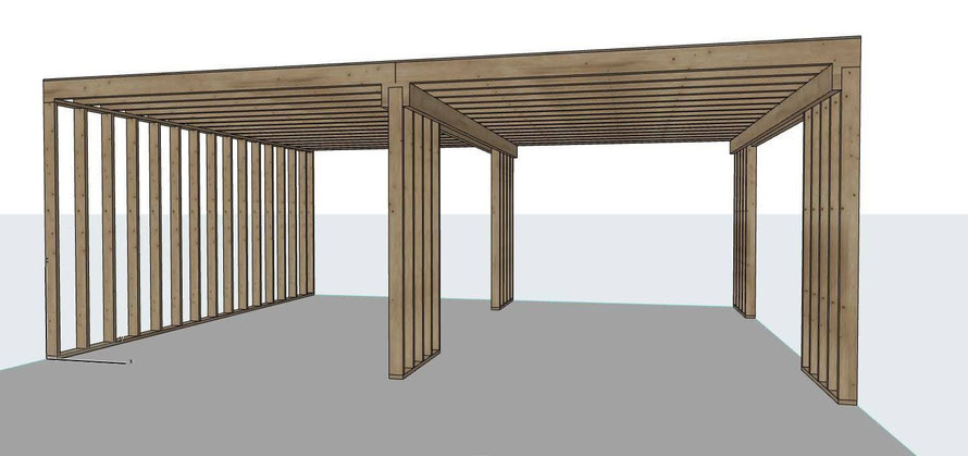 Bouw verdiepingsvloer in loods, 3D ontwerp