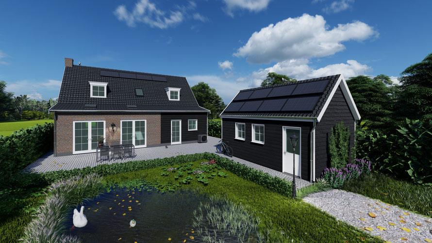 3D ontwerp vrijstaande woning te Wolphaartsdijk