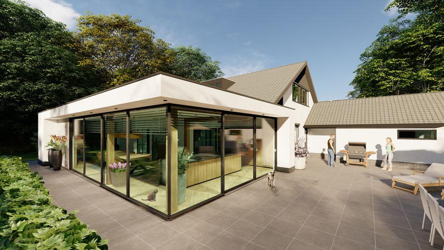 3D ontwerp villa met aanbouw Baarland