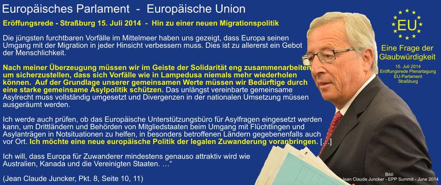 Jean Claude Juncker, Straßburg - Eröffnungsrede 15.07.2014 vor dem EU-Parlament