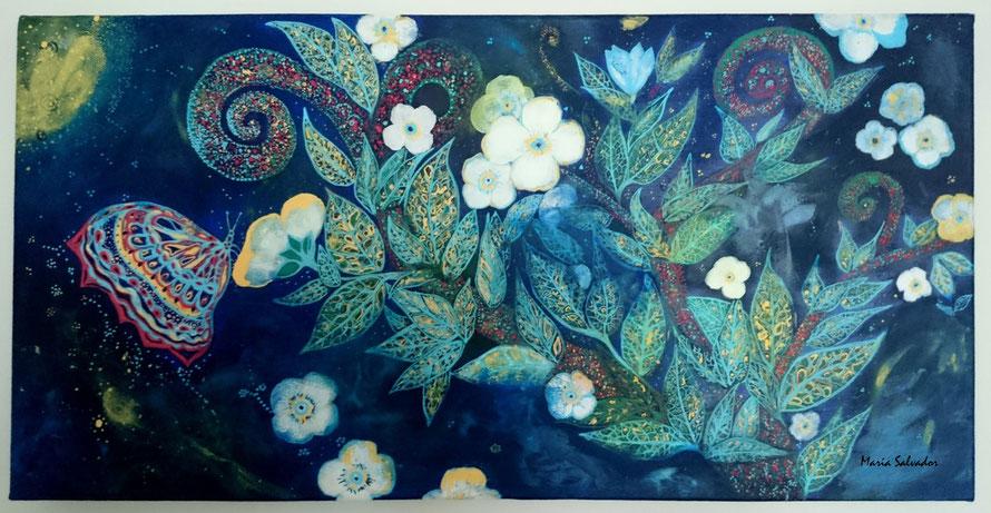 """tableau peinture acrylique sur toile de coton 30 x 60 cm. Titre """" le papillon de nuit"""""""