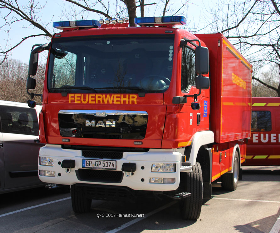 Dieser MAN TGM 13.290 als Gerätewagen Transport ist aus Göppingen angereist.