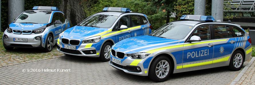 3 x blau vom PP Schwaben-Nord. BMW i3, bisher einziger 2er, 320er Touring.