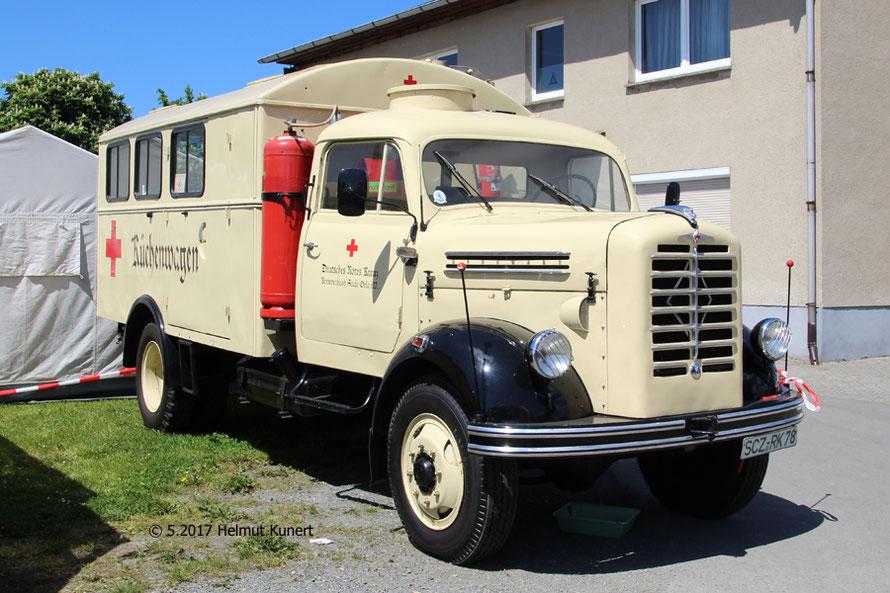 Küchenwagen auf Borgward Fahrgestell.