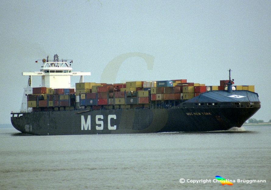 Open-Top Containerschiff MSC NEW YORK, Elbe 2002