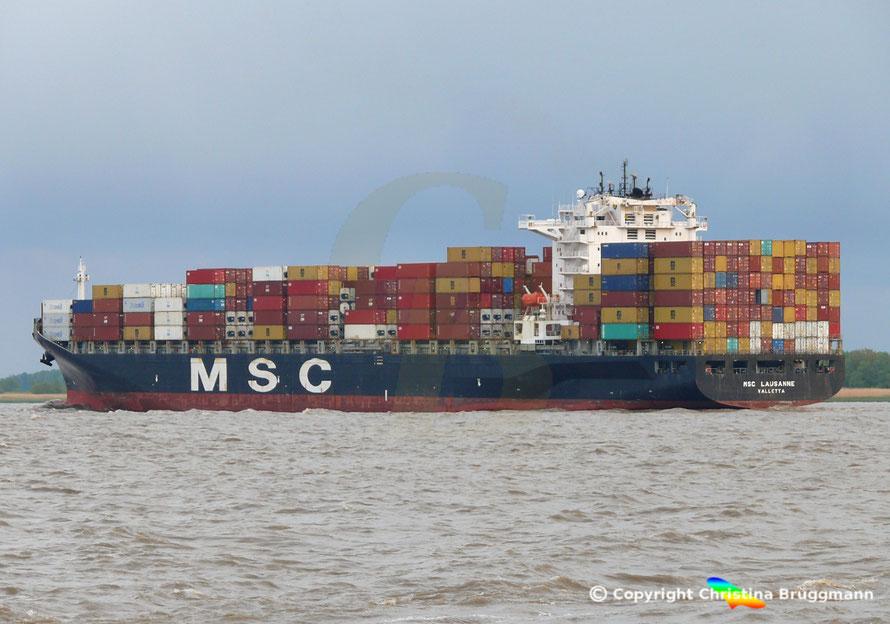 Containerschiff MSC LAUSANNE auf der Elbe 03.05.2019