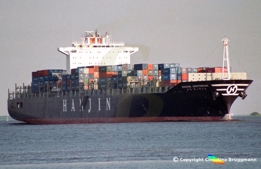 """Containerschiff """"HANJIN AMSTERDAM"""" auf der Elbe 2002"""