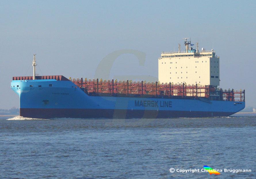 Feeder-Containerschiff VENTA MAERSK,  Elbe  14.02.2019