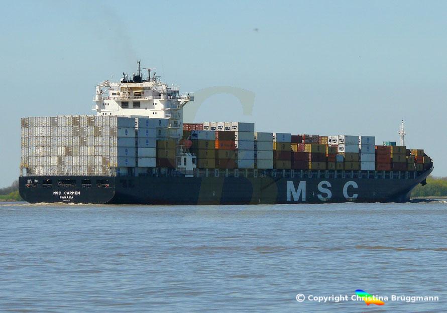 Containerschiff MSC CARMEN auf der Elbe 05.05.2016