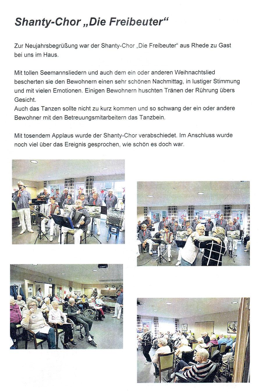 Die Freibeuter beim Neujahrs Konzert im Seniorenzentrum Azurit in Rhede am 05.01.2018