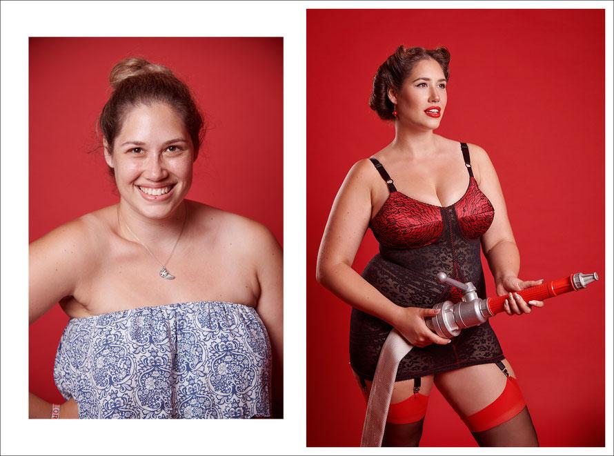 Vorher-Nachher-Foto - Fotoshooting in Kassel - sexy Feuerwehrfrau - Feuerwehr-Pin-Up mit Curvy Model