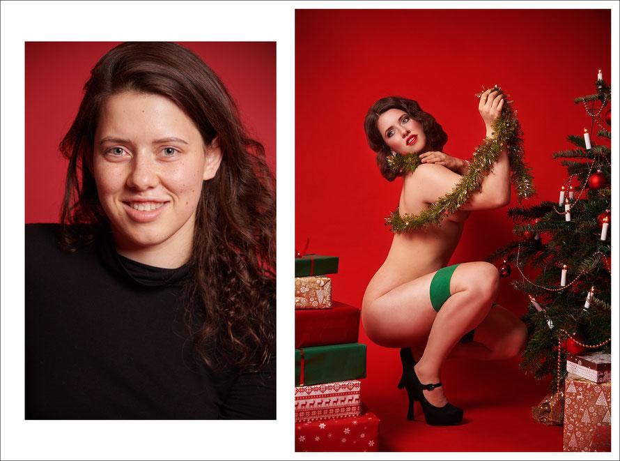 Vorher-Nachher-Fotos Makeover-Fotoshooting mit Umstyling zum Pin-Up Girl