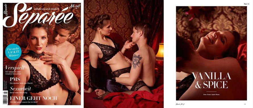 Erotische Paarfotos für Séparée-Magazin, Liebespaar im Schlafzimmer
