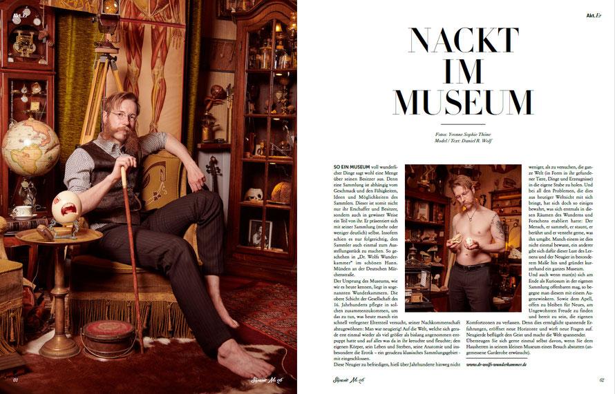 Männerakt Fotostrecke für das Séparée Magazin in Dr. Wolfs Wunderkammer