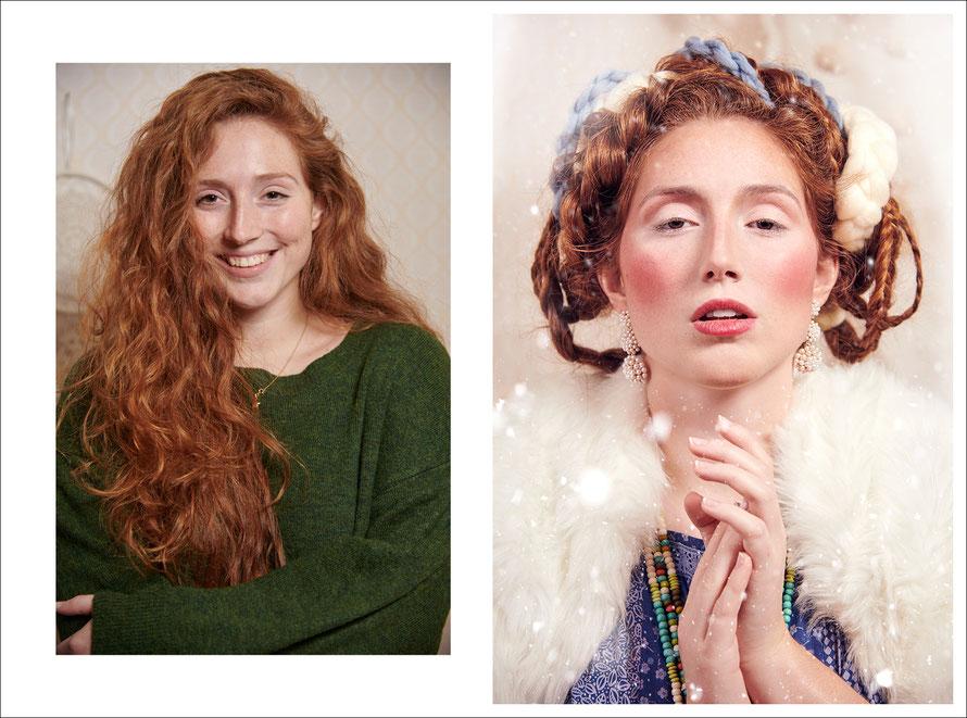 Umstyling: Vorher-Nachher-Foto im Folklorestil mit Curvy Model Tessa Schmidt, von Fotografin Yvonne Sophie Thöne