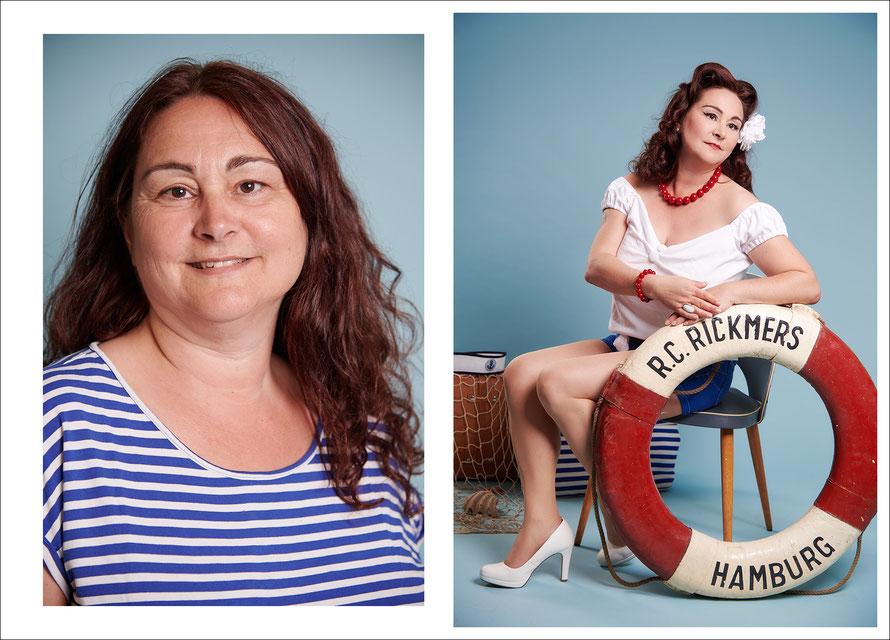 Vorher-Nachher-Foto: Wie sich eine ganz normale Frau in ein Pin-Up verwandelt