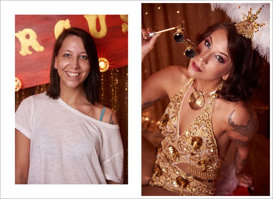 Vorher-Nachher-Foto: Von der normalen Frau von nebenan zur sexy Diva - Circus-Fotoshooting mit Yvonne Sophie Thöne