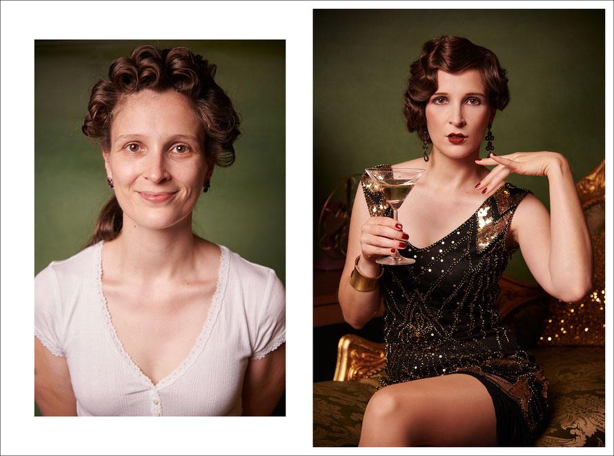 Vorher-Nachher-Fotos: Makeover im Vintage Stil inspiriert von Babylon Berlin