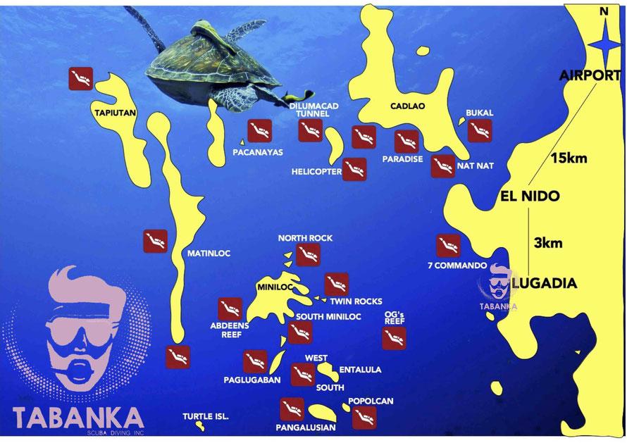 Dive Map El Nido. Diving Palawan 2019.