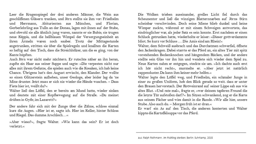 Ralf Rothmann Im Frühling sterben