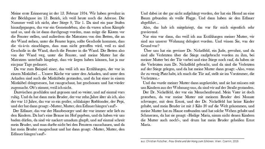 Christian Futscher Frau Grete und der Hang zum Schönen