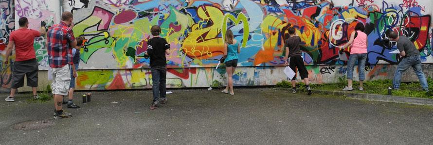 PAT23 Graffiti Workshop Leipzig - Erste Sprühübungen Kurs Projekttag