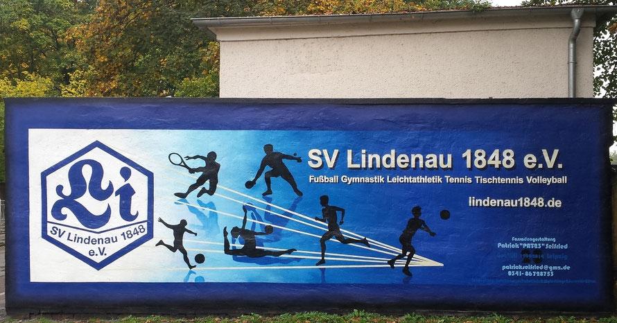 PAT23 - Fassaden Gestaltung Leipzig - Wandmalerei Logo Sport Verein SV Lindenau 1848 e.V. Banner Fitness Angebot