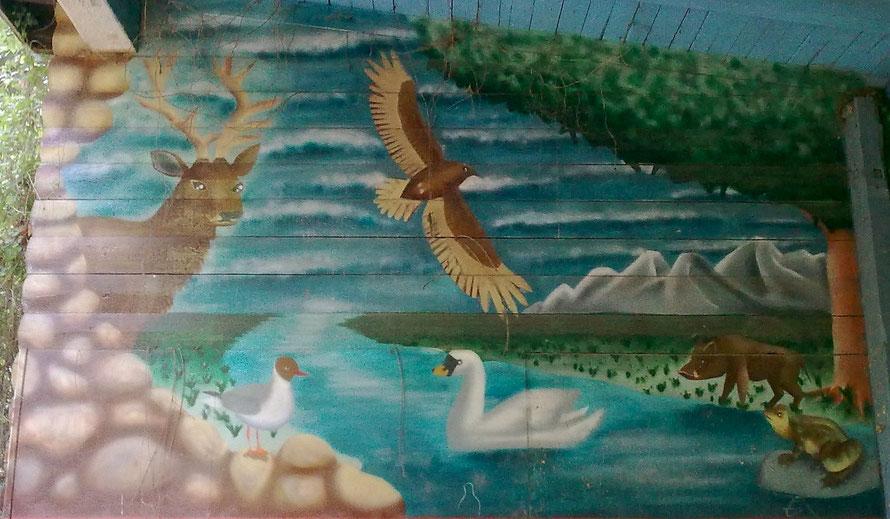 PAT23 - Graffiti-Auftragsarbeit Leipzig Zoo - Wandmalerei Tierkindergarten Landschaft Tiere