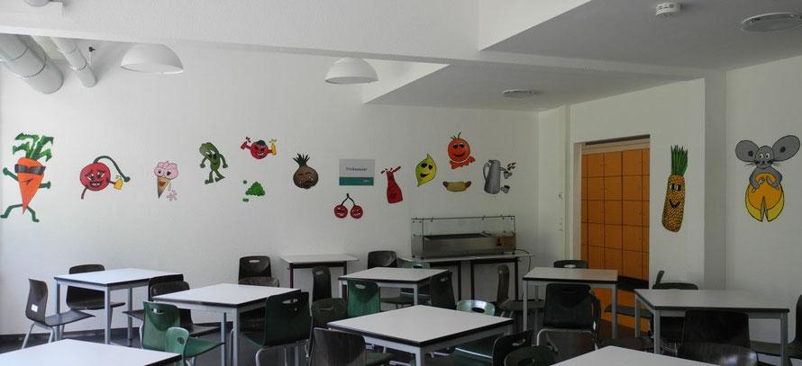 PAT23 Graffiti Workshop Leipzig - Schule Essenraum Schablone Wand Gestaltung