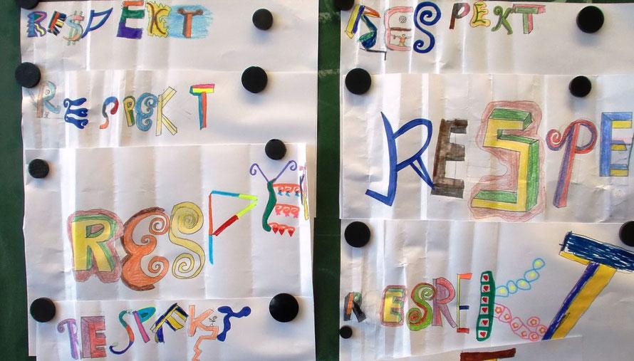 "PAT23 Graffiti Workshop Leipzig - Schule Tafel Klassenzimmer Thema Schwerpunkt ""Respekt"""