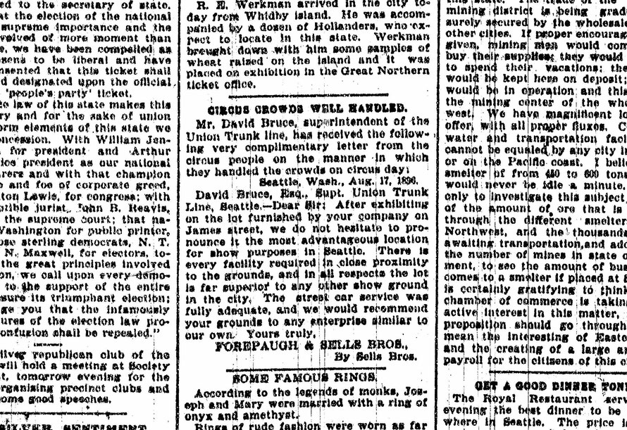 The Seattle Times, 1896, Mentions David Bruce and his occupation.
